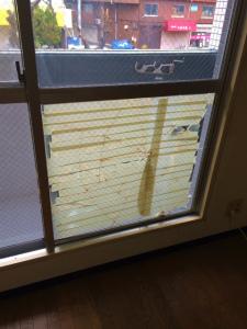 0227施工前,ガラス修理,大阪市東淀川区