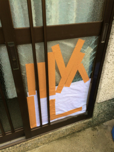 0215施工前,ガラス修理,東大阪市