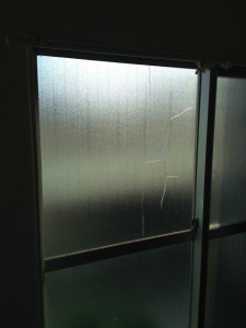0221施工前,ガラス修理,茨木市